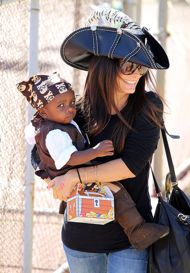 Sandra Bullock and Louis donned pirate gear for a Halloween party in LA.