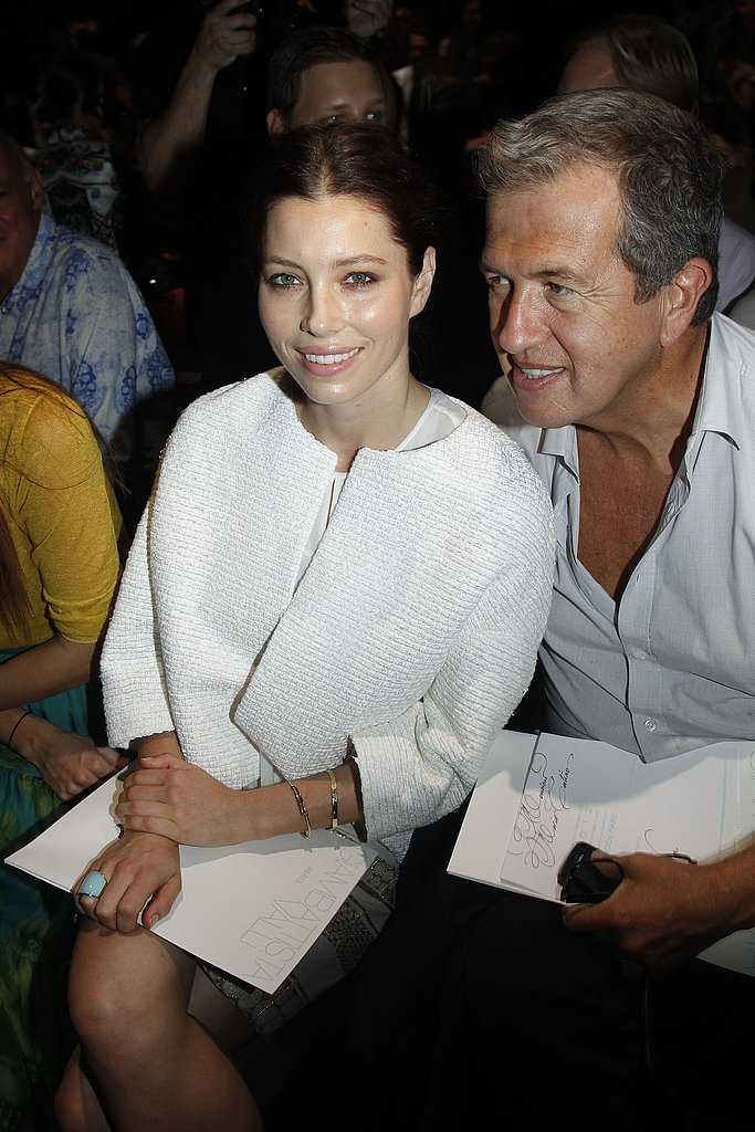 Jessica Biel and photographer Mario Testino had ringside seats for the  Giambattista Valli runway.