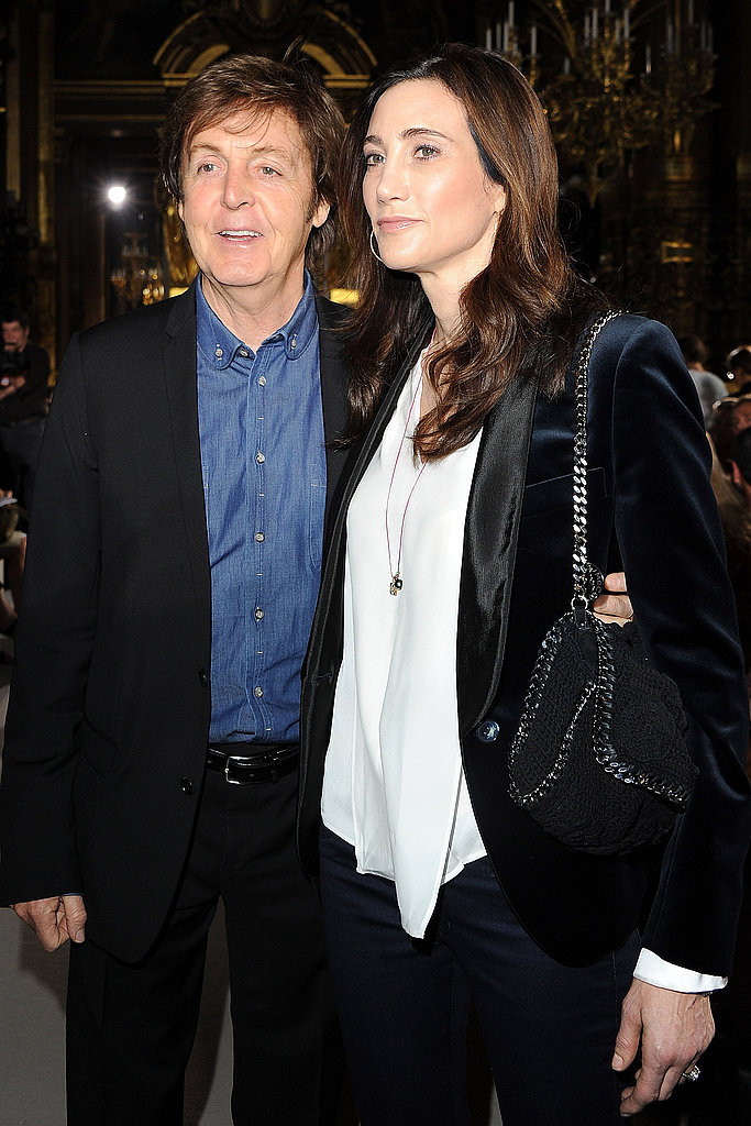 Paul McCartney and his wife-to-be Nancy Shevell turned up for his daughter Stella McCartney's show.