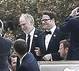 Seth Rogen's mother and father walked him down the aisle.