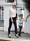 Gwen Stefani had Kingston Rossdale by her side on her birthday.