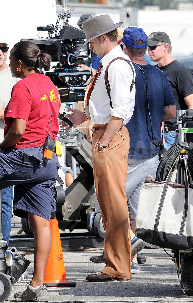 Ryan Gosling stood by for a scene for The Gangster Squad.