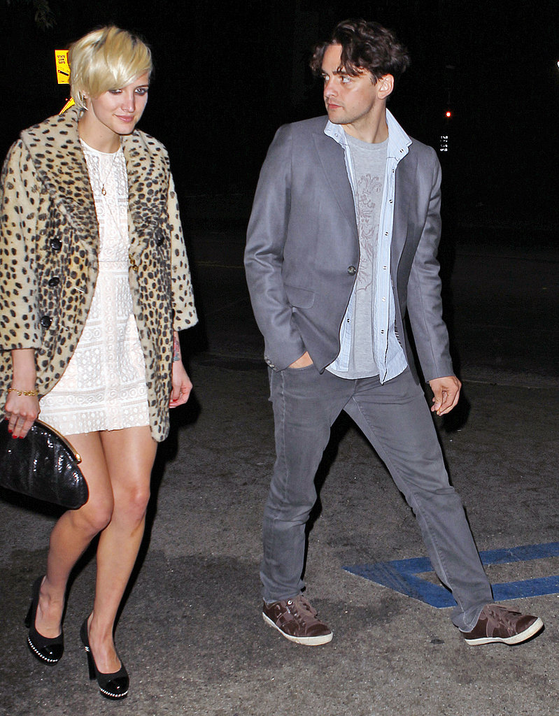 Ashlee Simpson wore leopard print for her dinner date with Vincent Piazza.