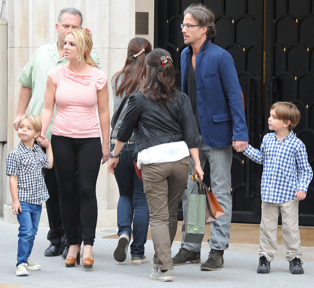 Jason Trawick held hands with Sean Preston and Britney Spears hung tight to Jayden James in Paris.