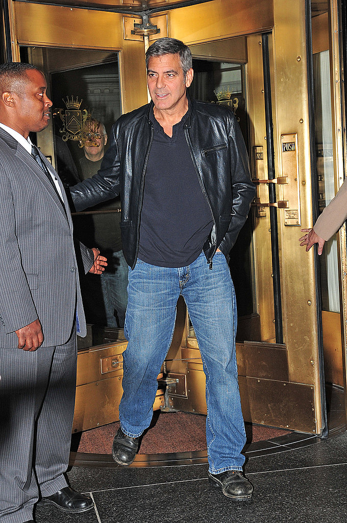 George Clooney stayed warm in a leather jacket in NYC.