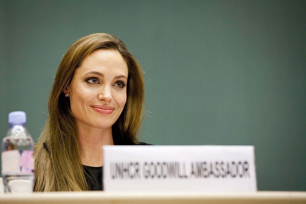 Angelina Jolie sat in front of her nameplate, featuring her title as Goodwill Ambassador.