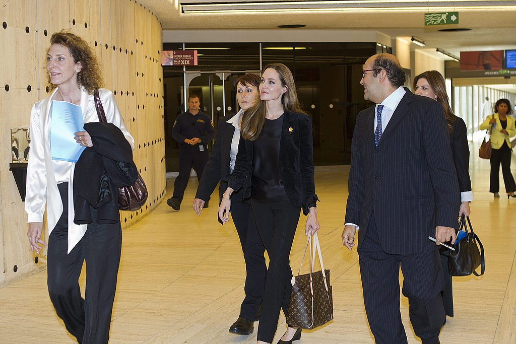 Angelina Jolie walked through the UN headquarters in Geneva, Switzerland.