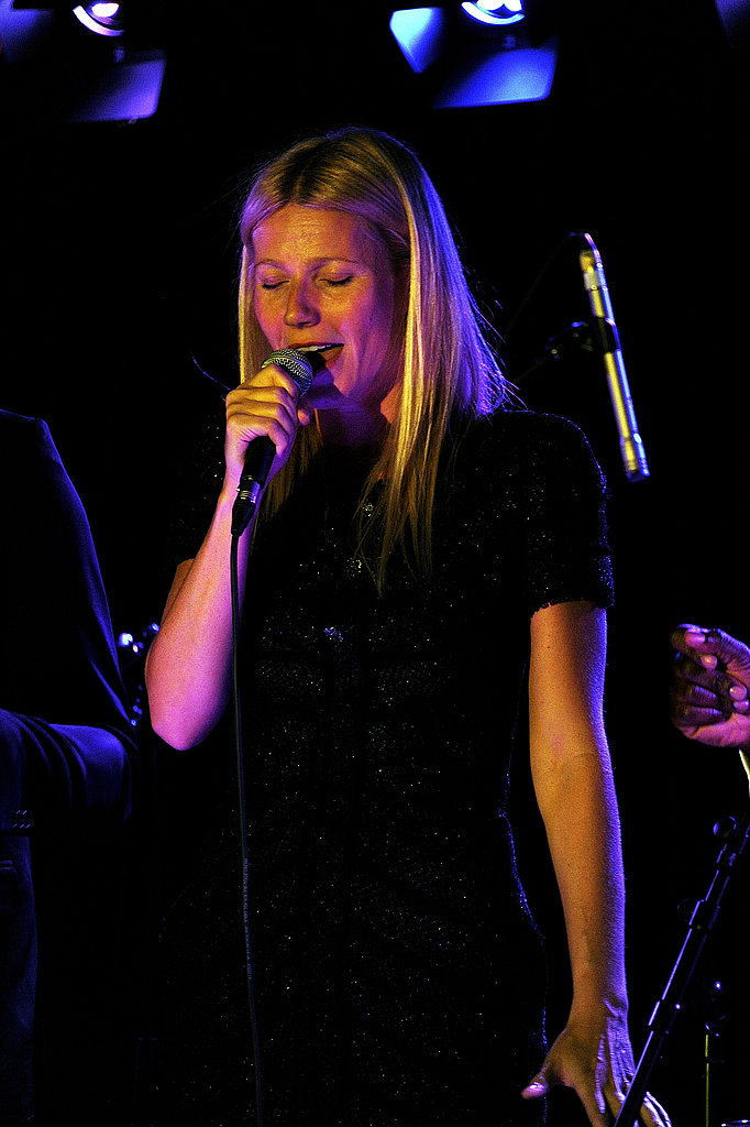 Gwyneth Paltrow belted into the mic in London.