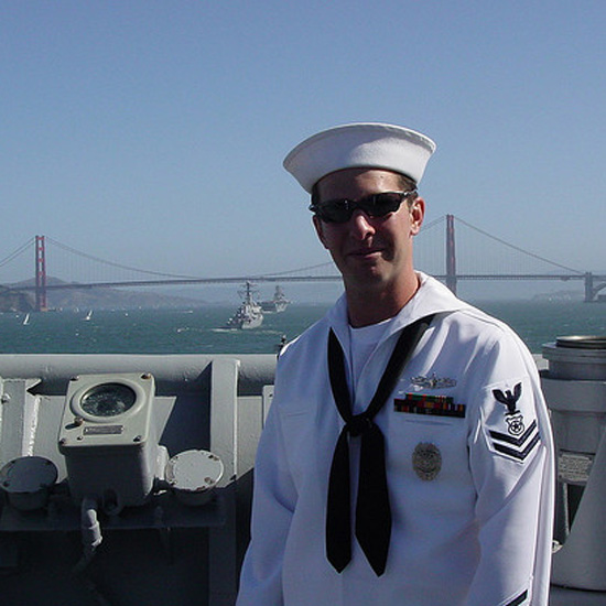 A sailor made his way to San Francisco.  Source: Flickr User Gunner_295