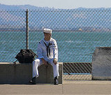 A sailor took a break in San Francisco.  Source: Flickr User sfjase