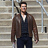 Tom Cruise in a Leather Jacket Shooting One Shot Pictures