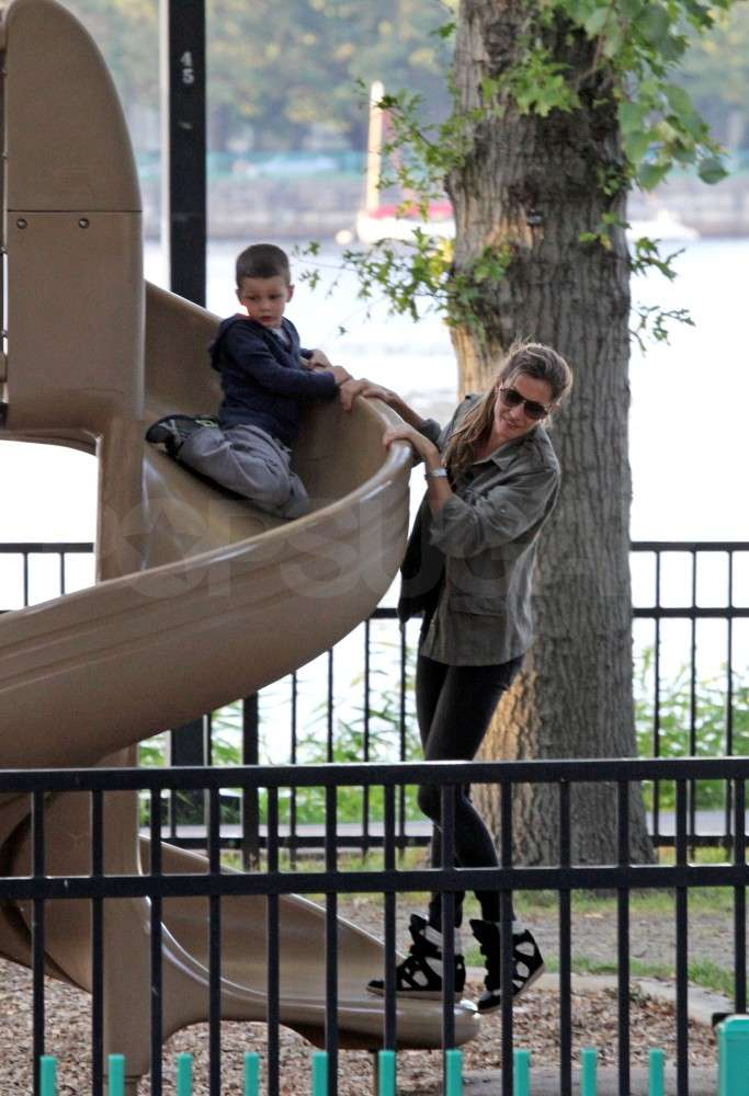 Jack Brady and Gisele Bundchen played on a slide together.