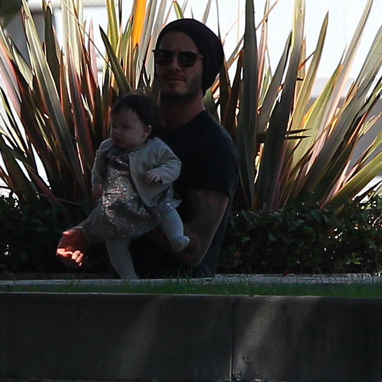 David Beckham with his little girl Harper in LA.