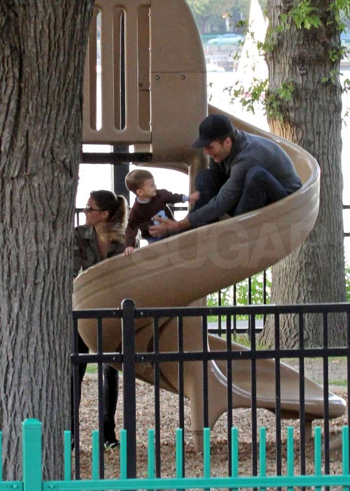 Tom Brady helped Benjamin down a slide in Boston.