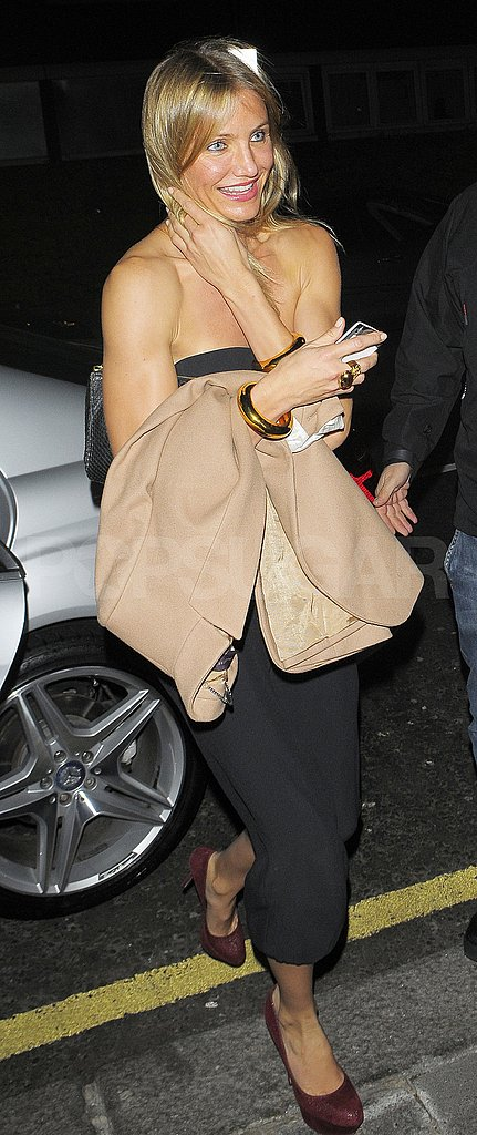 Cameron Diaz shows skin on her way into Stella McCartney's second 40th birthday party.