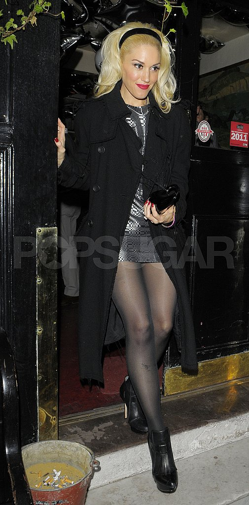 Gwen Stefani in a short skirt at London's The Cow pub.