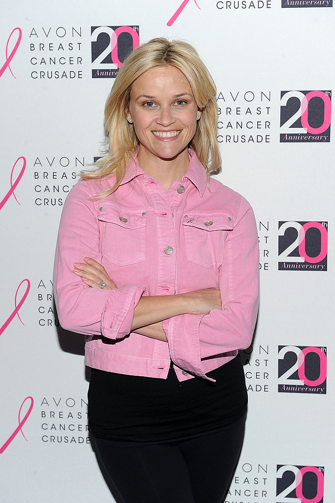 Reese Witherspoon wore a pink jacket for the Avon Walk for Breast Cancer event in NYC in October 2011.