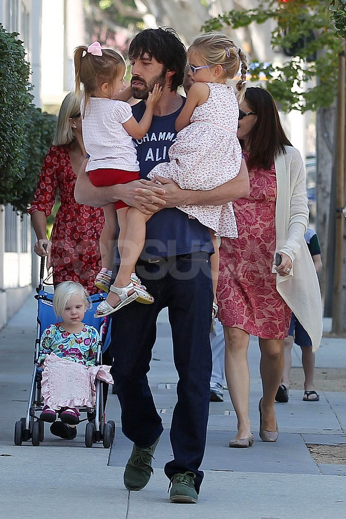 Ben Affleck balanced his girls Seraphina and Violet on their way to pick up a pumpkin in LA.
