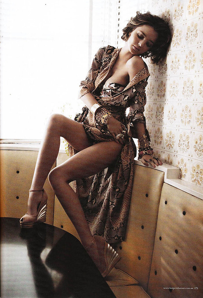Miranda Kerr made the most of a silk robe for Harper's Bazaar Australia.