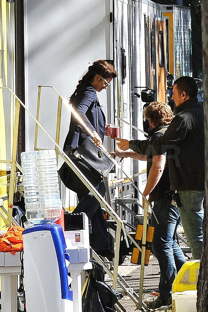 Penelope Cruz got a hand exiting her trailer.