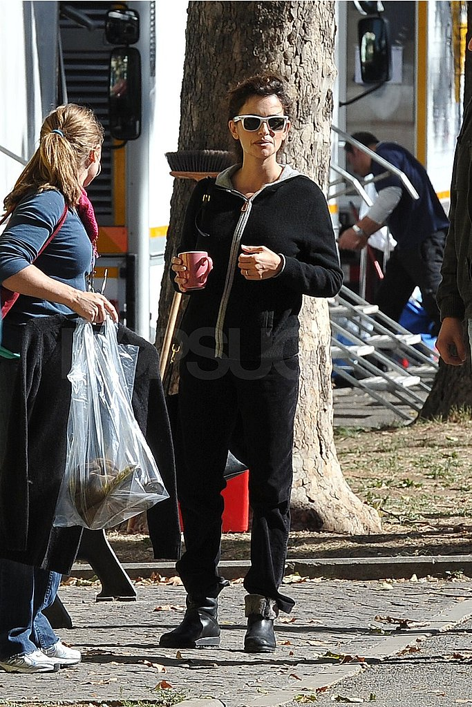 Penelope Cruz wore all black arriving on the set.