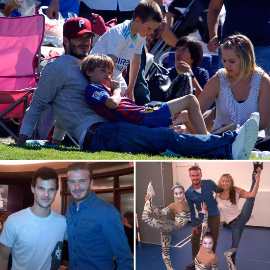 David Beckham Meets Taylor Lautner at Cirque Before a Day of Soccer With the Boys