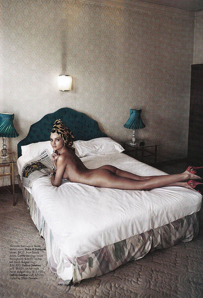 Miranda Kerr took a nude photo on a bed for Harper's Bazaar Australia.