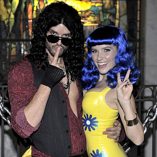 Russell Brand and Katy Perry Austin Nichols and Sophia Bush transformed into former celeb couple Russell Brand and Katy Perry with the help of some wigs.