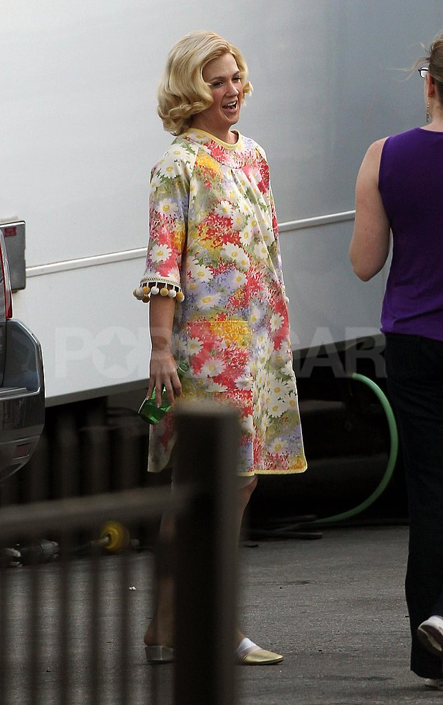 January Jones chatted on the set of Mad Men in LA.
