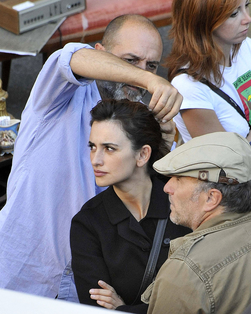 Penelope Cruz sat patiently in hair and makeup on the set of Venuto al Mondo.