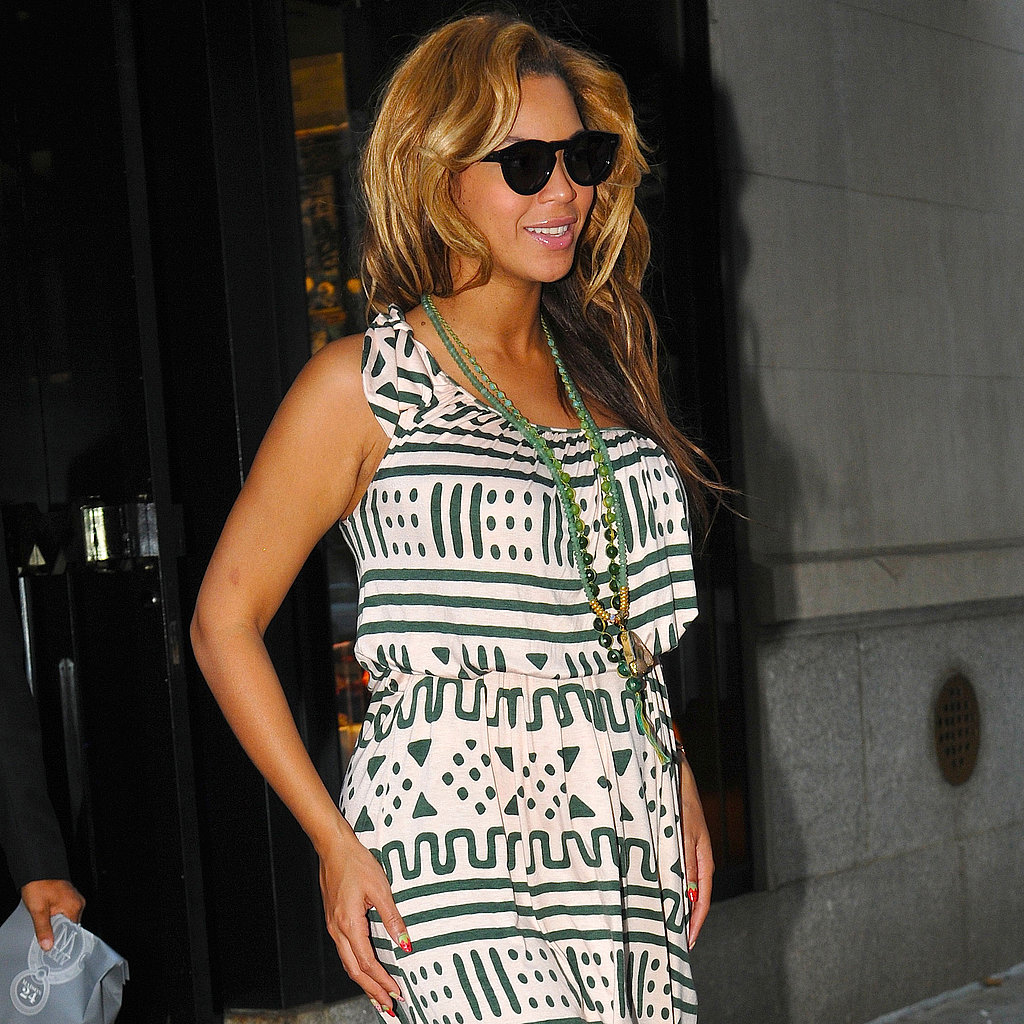 Beyoncé stuck with a graphic print while out this week.
