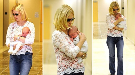 Video: January Jones Debuts Baby Xander and Shows Him Off to Her Mad Men Costars
