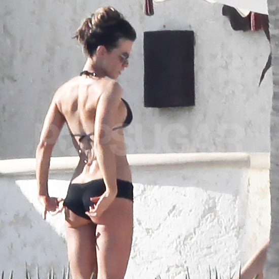 Kate Beckinsale in a black bikini.