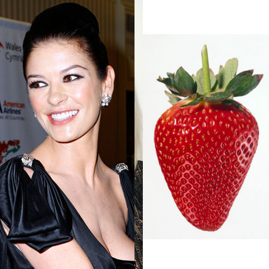 Catherine Zeta Jones Brushes Her Teeth with Strawberries