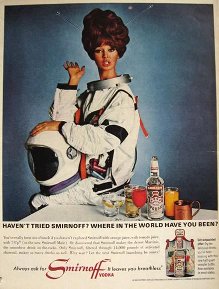 No, that's not astronaut Barbie in this 1966 vodka ad.