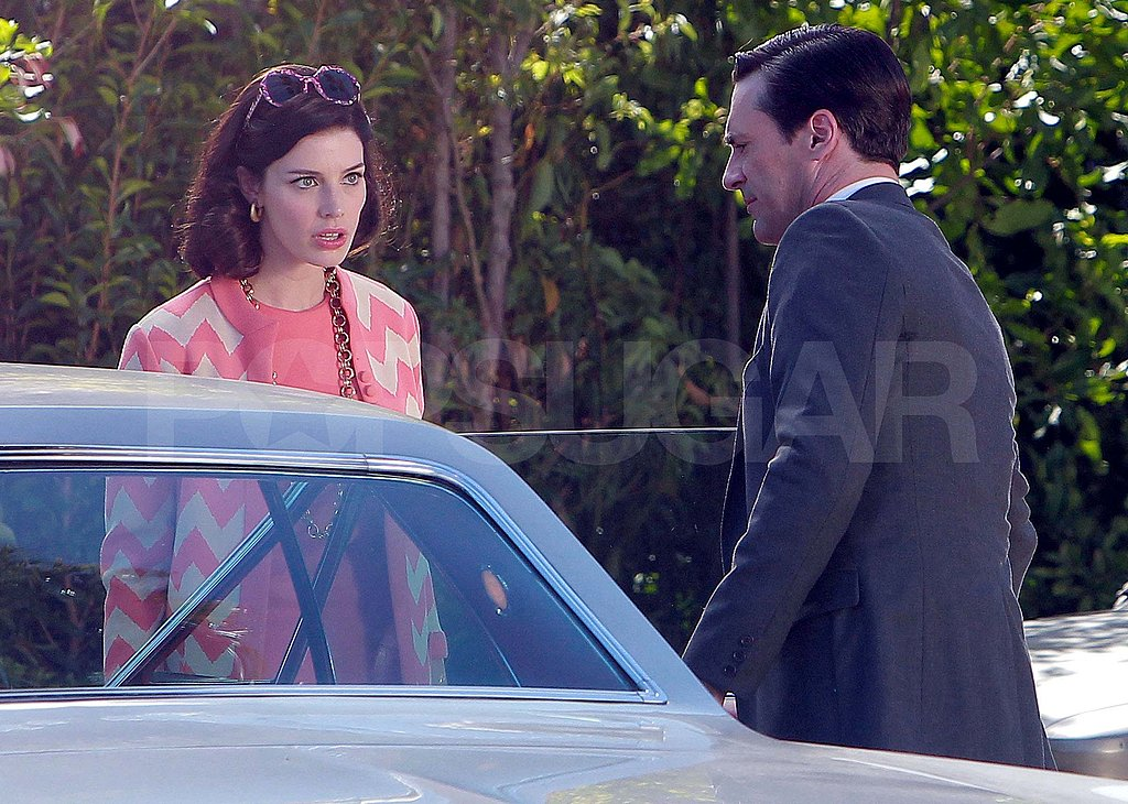 Jon Hamm and Jessica Paré filming Mad Men.