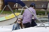 Isla Fisher and Sacha Baron Cohen readied themselves for a boat ride in Australia.