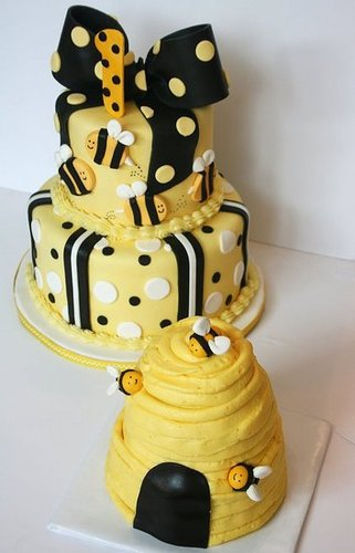 Bumblebee First Birthday Cake