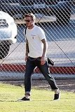 David Beckham in rolled-up jeans.