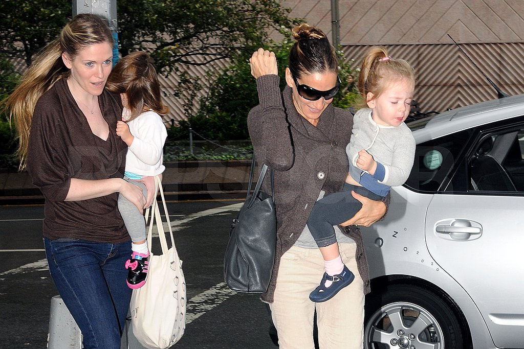 SJP and the twins quickly ran into school avoiding rain drops.