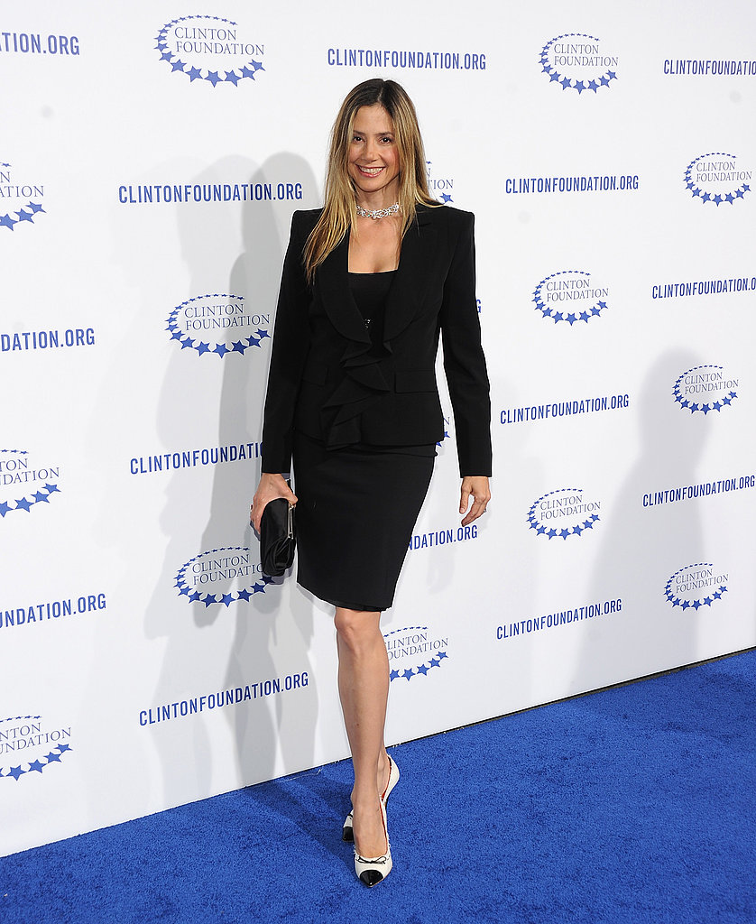 Mira Sorvino made her way down the blue carpet.