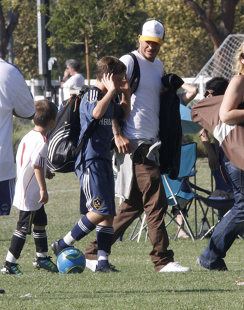 David Beckham walked Brooklyn home from a soccer game.