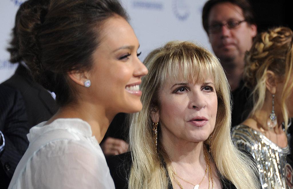 Jessica Alba spoke to reporters with music legend Stevie Nicks.