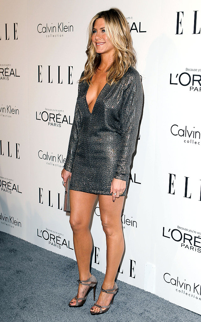 Jennifer Aniston rocked a metallic dress at an event in LA for Elle.