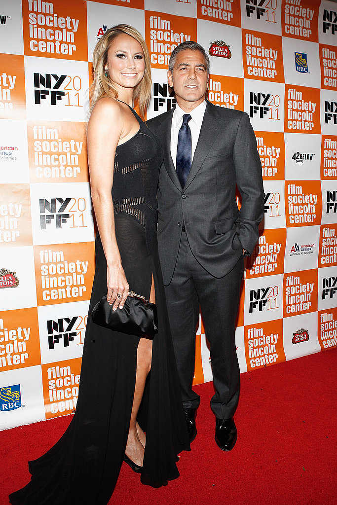 George Clooney lead Stacy Keibler posed side by side at The Descendants premiere in NYC.