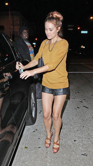 Lauren Conrad partied in LA wearing leather shorts.