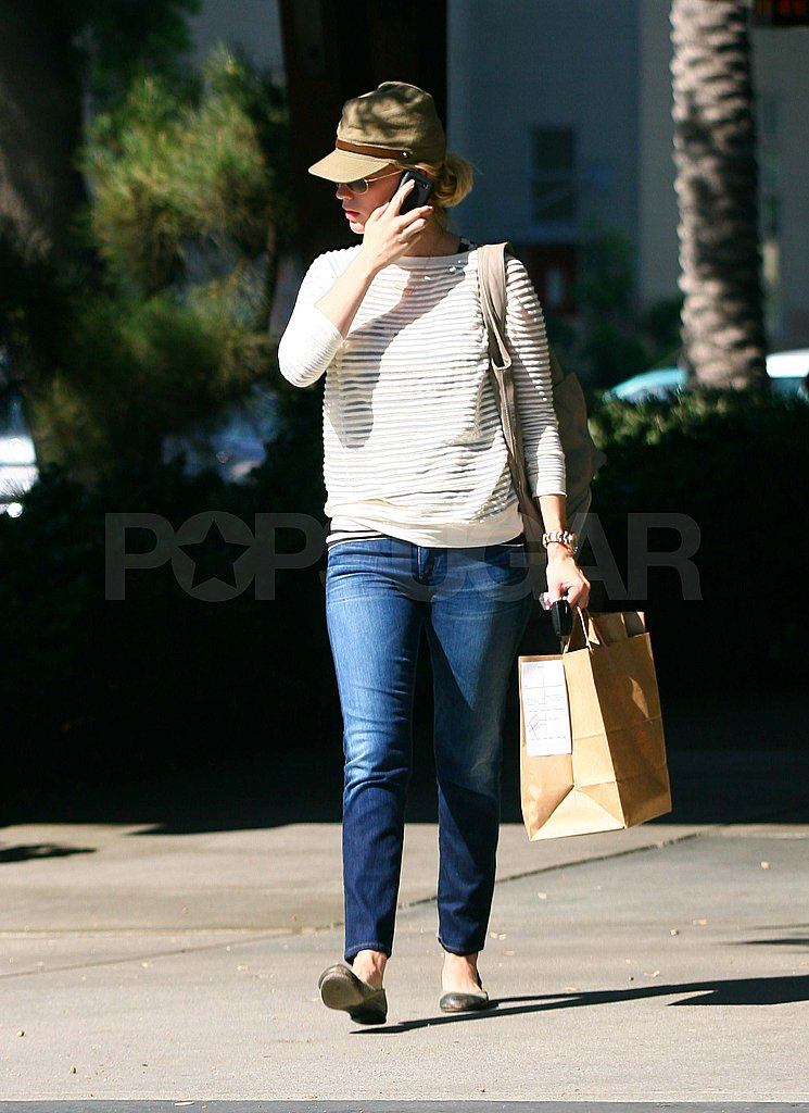 January Jones picks up takeout from Houston's.