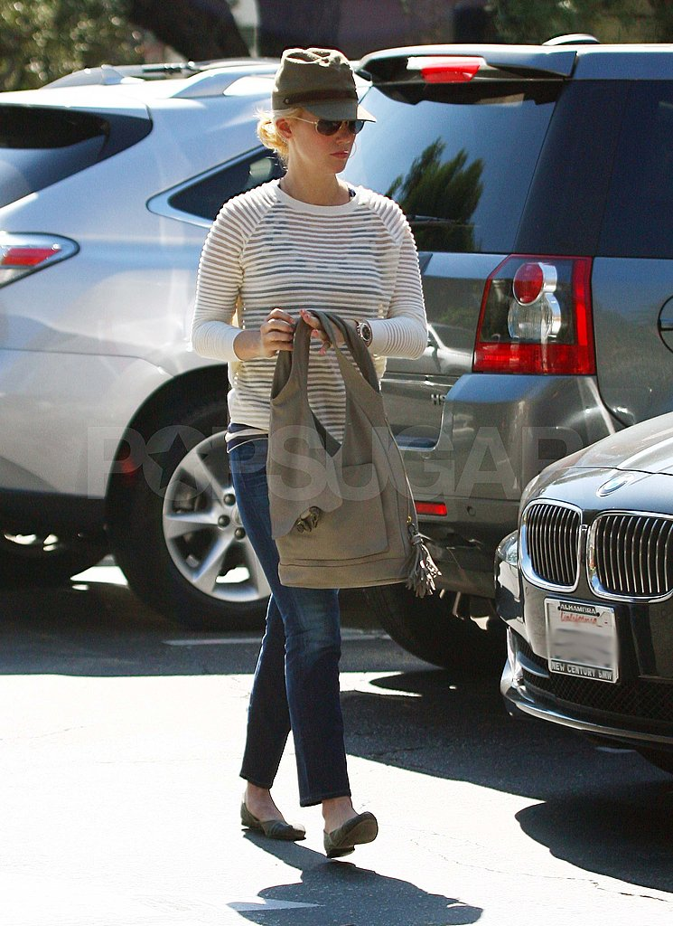 January Jones in a striped sweater.