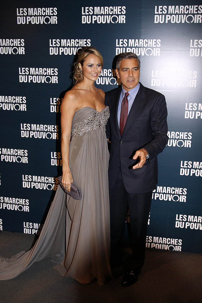 George Clooney poses with Stacy Keibler in Paris.