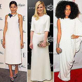 Celebrities in White Evening Dresses